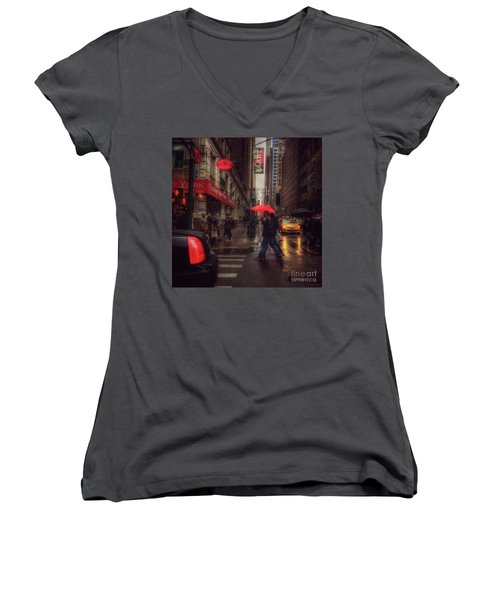 All That Jazz. New York In The Rain. Women's V-Neck (Athletic Fit)