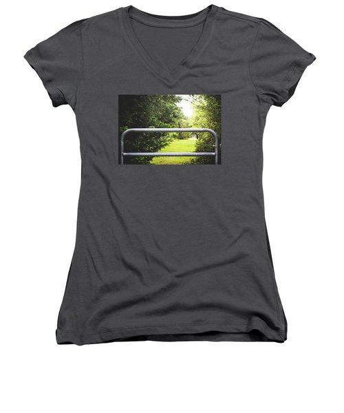 Women's V-Neck T-Shirt (Junior Cut) featuring the photograph All Things Green by Shelby Young