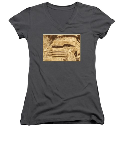 Women's V-Neck T-Shirt (Junior Cut) featuring the photograph All Used Up by Victor Montgomery