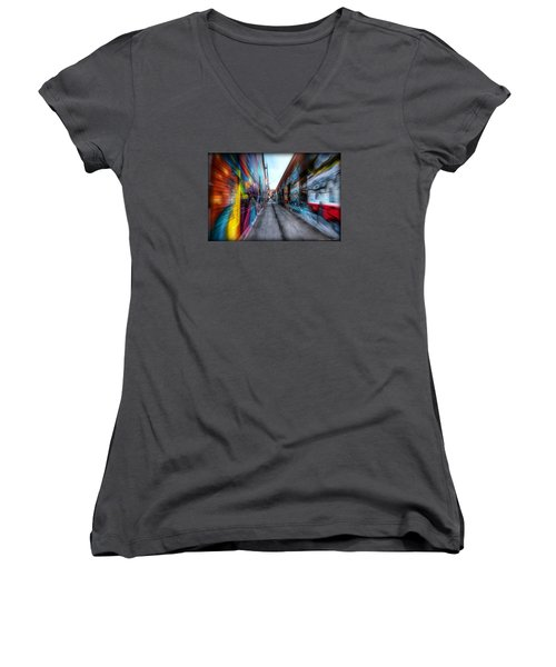 Women's V-Neck T-Shirt (Junior Cut) featuring the photograph Alley by Michaela Preston