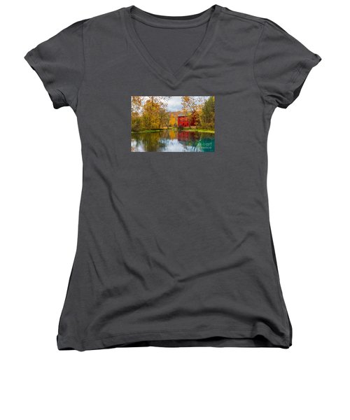 Alley Mill And Spring Women's V-Neck T-Shirt (Junior Cut) by Jennifer White