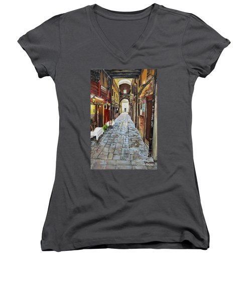 Women's V-Neck T-Shirt featuring the painting Alley On Parangon In Venice by Jan Dappen