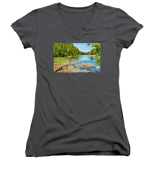 Alley Springs Scenic Bend Women's V-Neck T-Shirt (Junior Cut) by John M Bailey