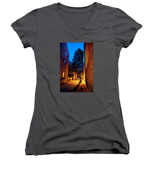 Women's V-Neck T-Shirt (Junior Cut) featuring the photograph Alleyway by Mark Dodd