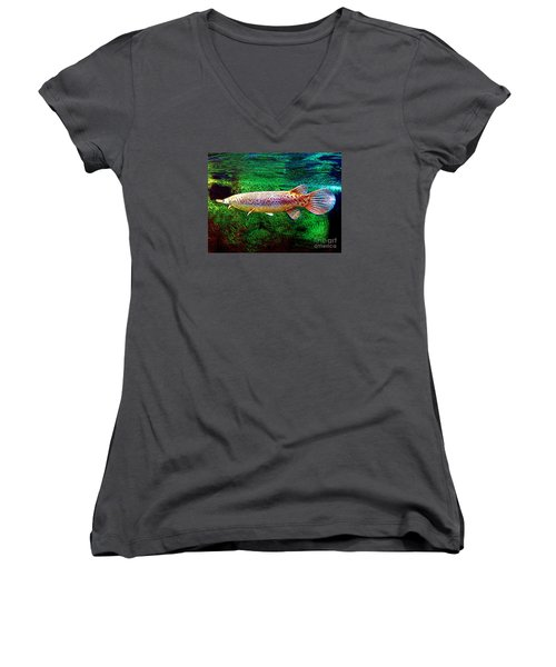 Alligator Gar Fish  Women's V-Neck T-Shirt (Junior Cut) by Merton Allen
