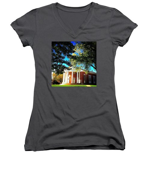 Alma College Dunning Memorial Chapel Women's V-Neck T-Shirt