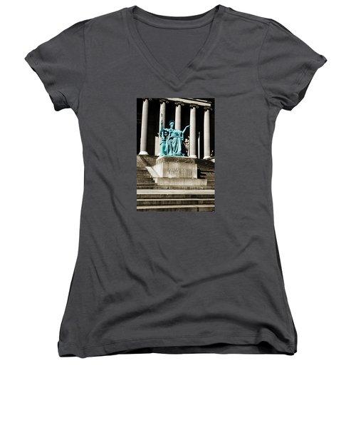 Alma Mater Women's V-Neck T-Shirt (Junior Cut) by Marilyn Hunt