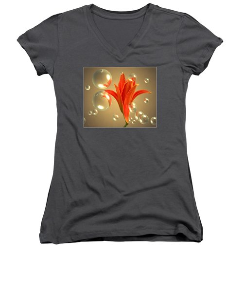 Women's V-Neck T-Shirt (Junior Cut) featuring the photograph Almost A Blossom In Bubbles by Joyce Dickens