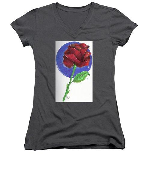 Almost Black Rose Women's V-Neck