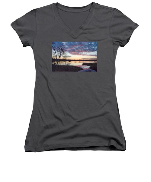 Almost Spring Sunset Women's V-Neck (Athletic Fit)