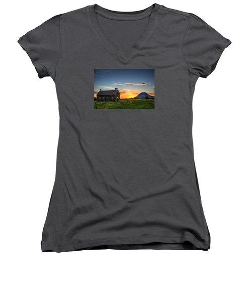 Almost Sunrise Women's V-Neck T-Shirt (Junior Cut) by Fiskr Larsen