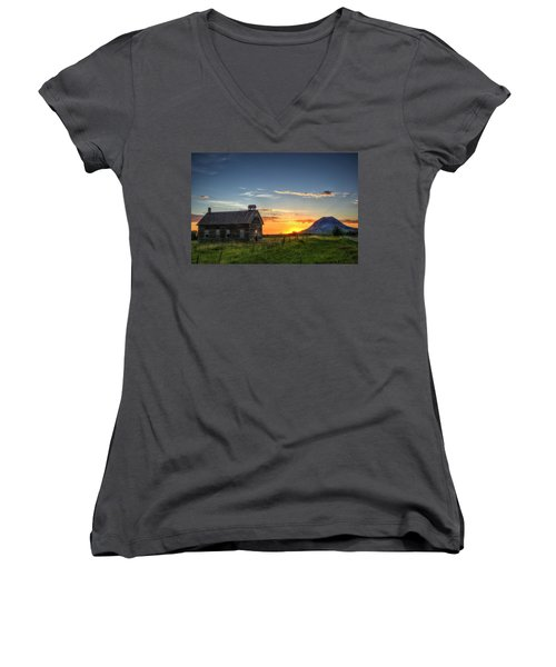 Women's V-Neck featuring the photograph Almost Sunrise by Fiskr Larsen