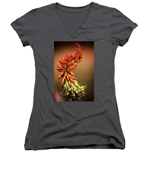 Women's V-Neck T-Shirt (Junior Cut) featuring the photograph Aloe Vera Twist  by Saija Lehtonen