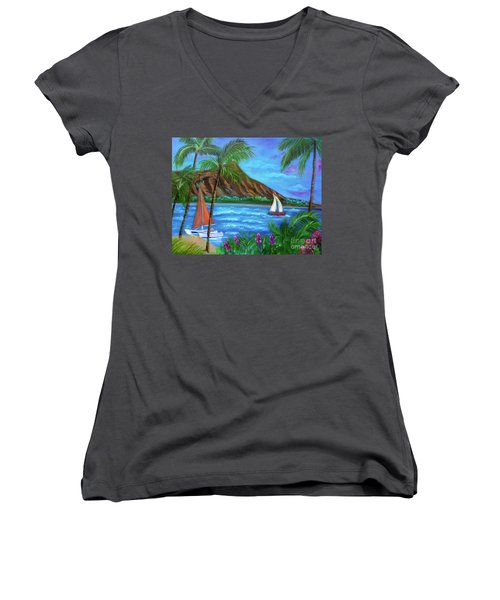 Aloha Diamond Head Women's V-Neck T-Shirt (Junior Cut) by Jenny Lee