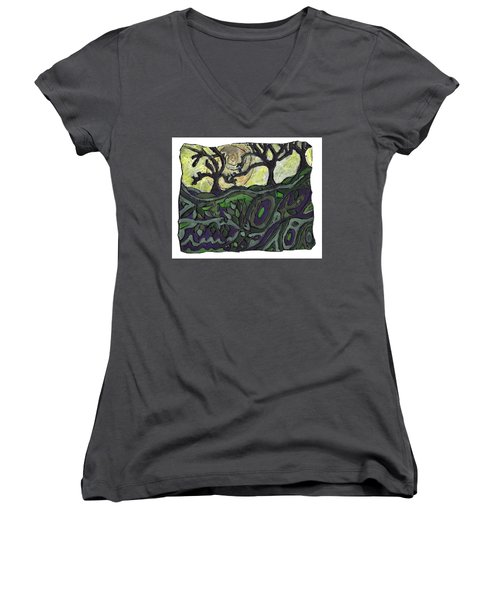 Alone In The Woods Women's V-Neck (Athletic Fit)