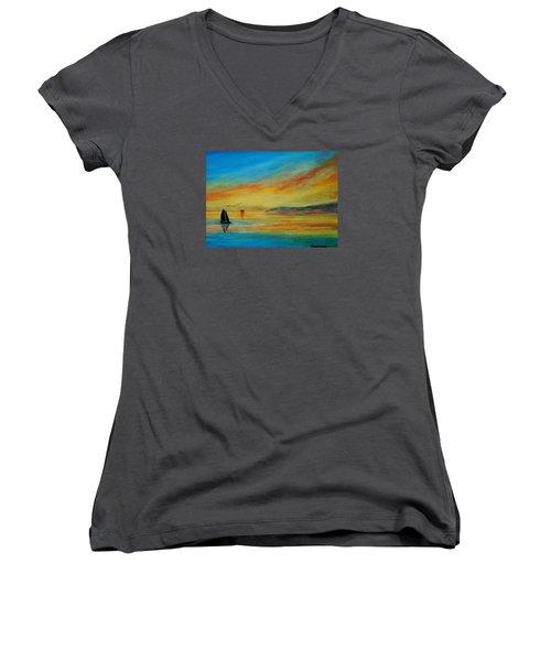 Alone In Winter Sunset Women's V-Neck T-Shirt