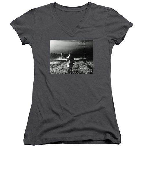 Women's V-Neck T-Shirt (Junior Cut) featuring the photograph Alone by Lyric Lucas