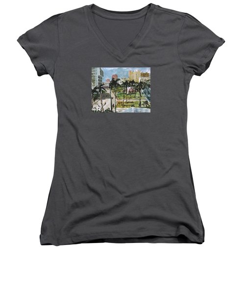 Along Flagler Drive Women's V-Neck T-Shirt (Junior Cut)