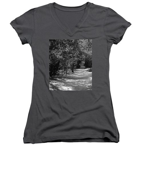 Along The Barr Trail Women's V-Neck T-Shirt (Junior Cut) by Christin Brodie