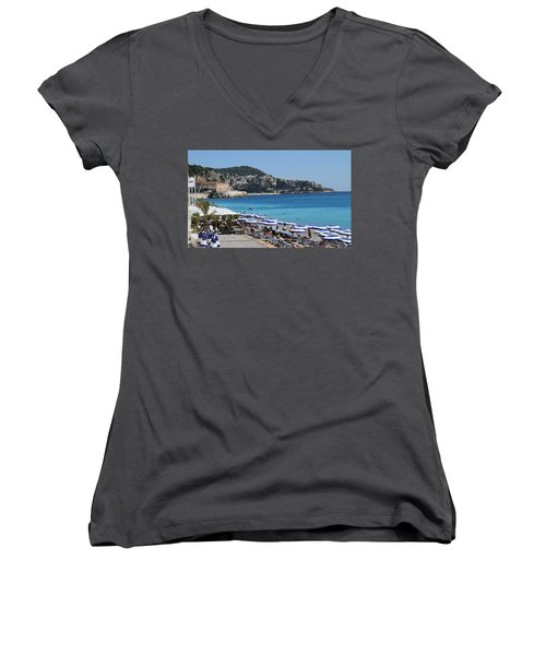 Women's V-Neck T-Shirt (Junior Cut) featuring the painting Along The Beach In Nice Looking Over Toward Monaco by Rod Jellison