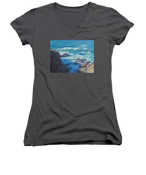 Women's V-Neck T-Shirt (Junior Cut) featuring the painting Along The Cliff by Karen Ilari