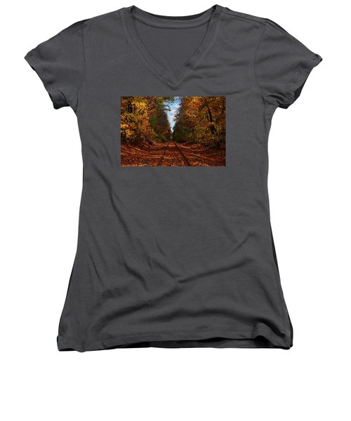 Along The Rails Women's V-Neck T-Shirt (Junior Cut) by Tricia Marchlik