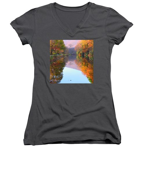 Along These Autumn Days Women's V-Neck (Athletic Fit)