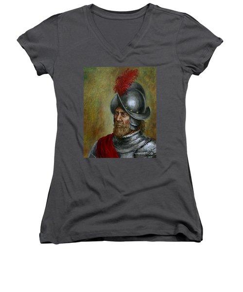 Alonso De Alvarado Women's V-Neck T-Shirt (Junior Cut) by Arturas Slapsys