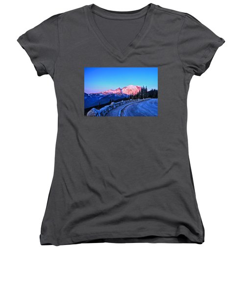 Alpenglow At Mt. Rainier Women's V-Neck