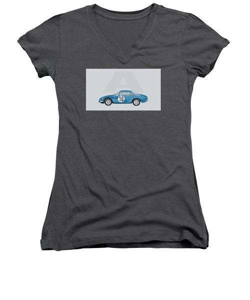 Women's V-Neck T-Shirt (Junior Cut) featuring the mixed media Alpine A110 by TortureLord Art