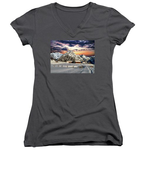 Alpine Winter Scene Women's V-Neck