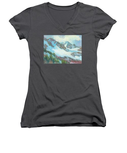 Women's V-Neck T-Shirt (Junior Cut) featuring the painting Alps In Switzerland by Diane McClary
