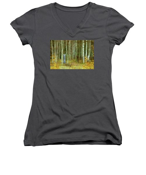 Women's V-Neck T-Shirt (Junior Cut) featuring the photograph Alvarado Cemetery 41 by Marie Leslie
