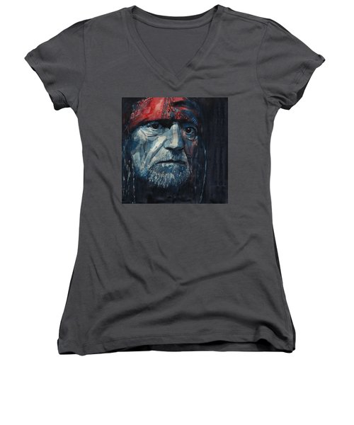 Women's V-Neck T-Shirt (Junior Cut) featuring the painting Always On My Mind - Willie Nelson  by Paul Lovering