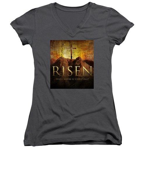 Always Risen Women's V-Neck T-Shirt (Junior Cut) by David Norman