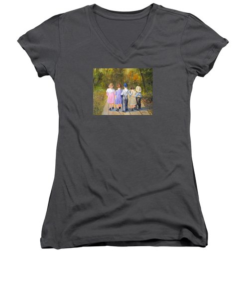Always Together Women's V-Neck T-Shirt (Junior Cut) by Alan Lakin