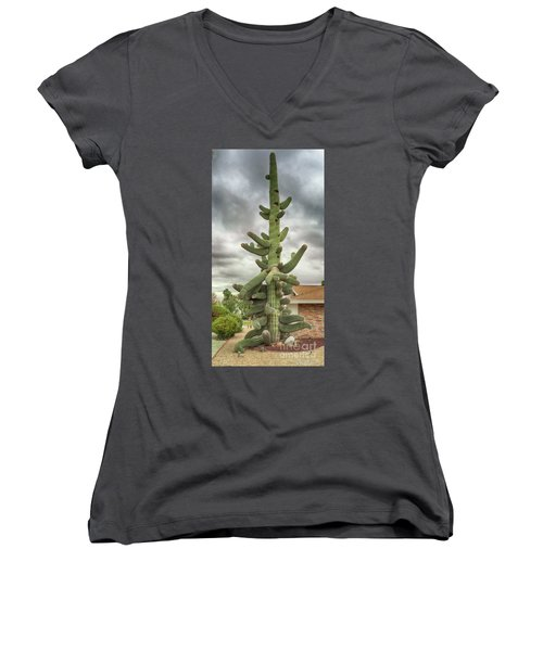 Women's V-Neck T-Shirt (Junior Cut) featuring the photograph Arizona Christmas Tree by Anne Rodkin