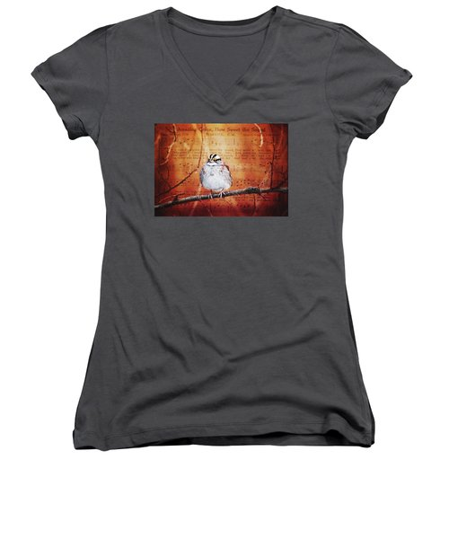 Amazing Grace Women's V-Neck T-Shirt (Junior Cut) by Trina Ansel