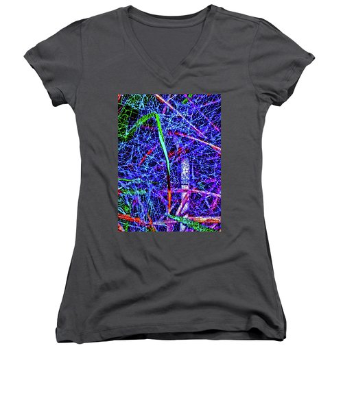 Amazing Invisible Web Women's V-Neck T-Shirt (Junior Cut) by Gina O'Brien