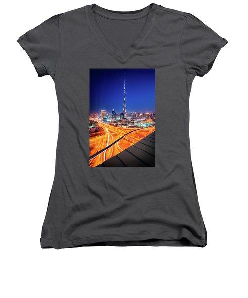 Amazing Night Dubai Downtown Skyline, Dubai, United Arab Emirates Women's V-Neck T-Shirt