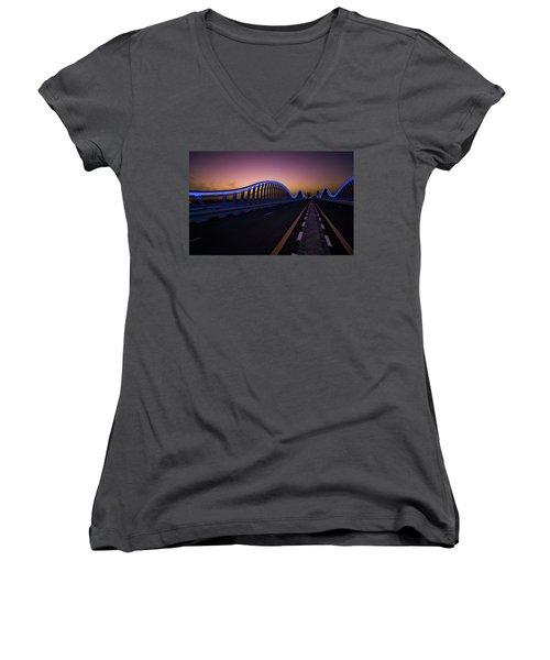 Amazing Night Dubai Vip Bridge With Beautiful Sunset. Private Ro Women's V-Neck T-Shirt