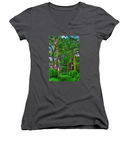 Amazing Rainbow Eucalyptus Women's V-Neck (Athletic Fit)