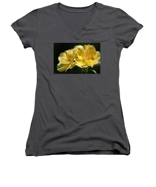 Amber Yellow Country Rose Women's V-Neck (Athletic Fit)