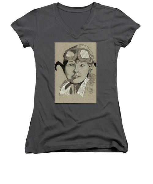 Amelia Earhart Women's V-Neck T-Shirt