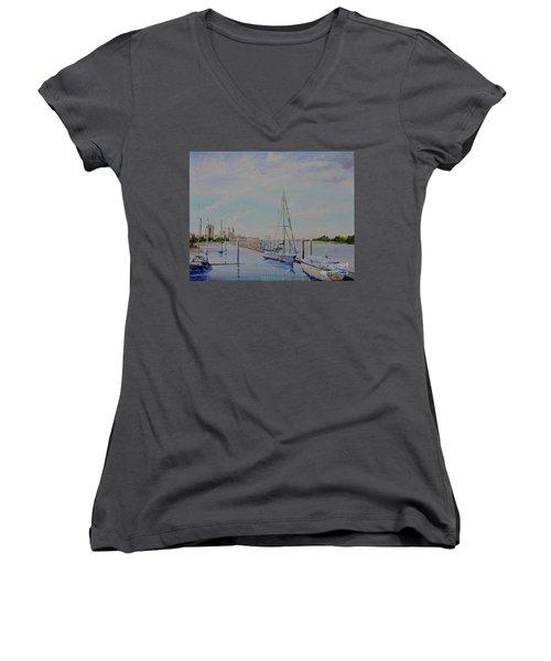 Amelia Island Port Women's V-Neck T-Shirt (Junior Cut) by AnnaJo Vahle