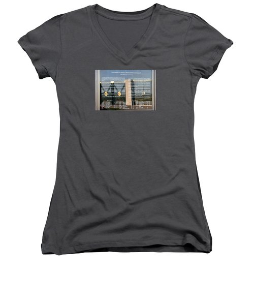Women's V-Neck T-Shirt (Junior Cut) featuring the photograph American Battle Monuments Commission by Travel Pics