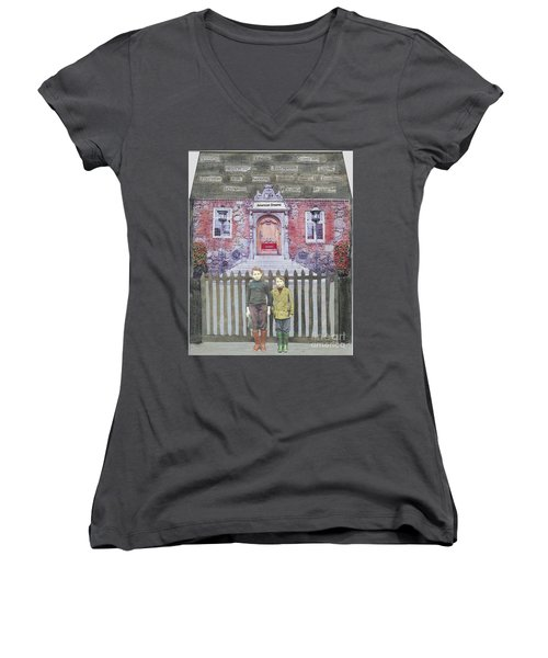 Women's V-Neck T-Shirt (Junior Cut) featuring the mixed media American Dreams by Desiree Paquette