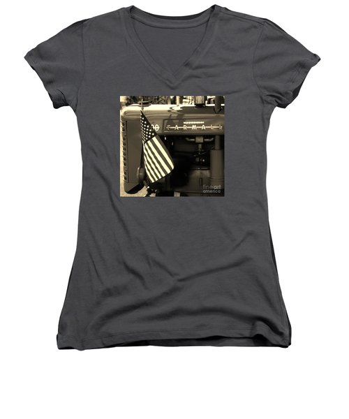 Women's V-Neck T-Shirt (Junior Cut) featuring the photograph American Farmall by Meagan  Visser