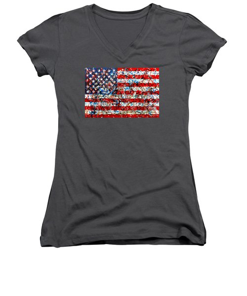 Women's V-Neck T-Shirt (Junior Cut) featuring the painting American Flag Abstract With Trees by Genevieve Esson