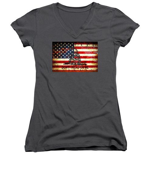 American Flag And Viper On Rusted Metal Door - Don't Tread On Me Women's V-Neck T-Shirt (Junior Cut) by M L C